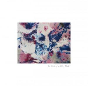 La belle et la bête Encre sur tissu 38x29 cm