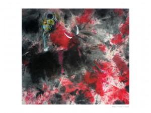 Mise à mort Pastel et encre sur tissu 56x51cm