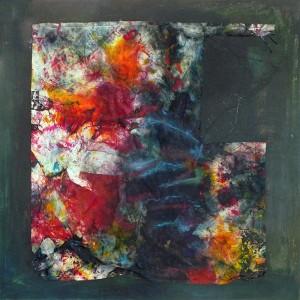 Obliteration Entre et pastel sur tissu et bois 72x72 cm