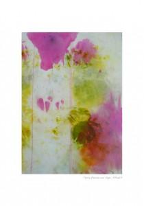 Trois fleurs sur tige Encre sur tissu 49x69 cm